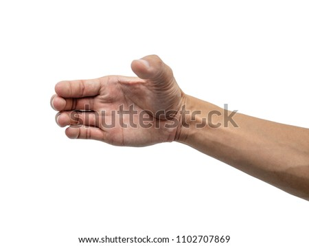 Young man hand holding  empty for montage product isolated on white. #1102707869