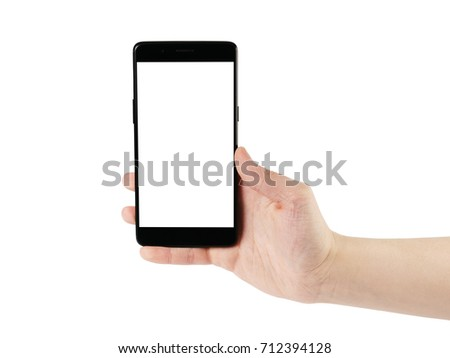 young man hand holding smartphone isolated on white #712394128