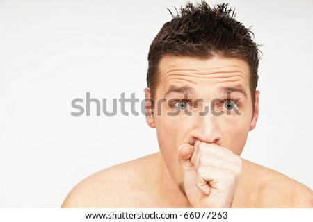 Young man has a cough. You can write text on left side.