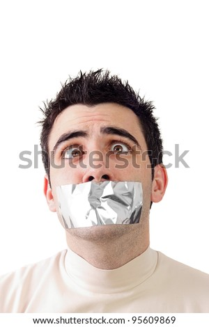 Young man having gray duct tape on his mouth.Help expression on his face.White background and copy space. - stock photo