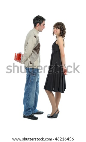 young  man  hides behind surprise for his girl (isolated on white)