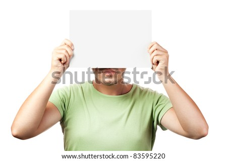 young man holding a blank billboard isolated on white background
