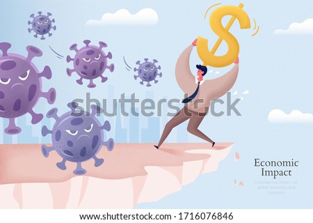 Young man holding a large dollar sign above his head and trying to defend against virus on the edge of cliff, concept of economic impact caused by COVID-19 pandemic Stock photo ©