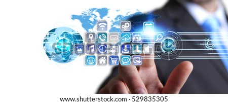 Young man holding application icons interface in his hand 3D rendering