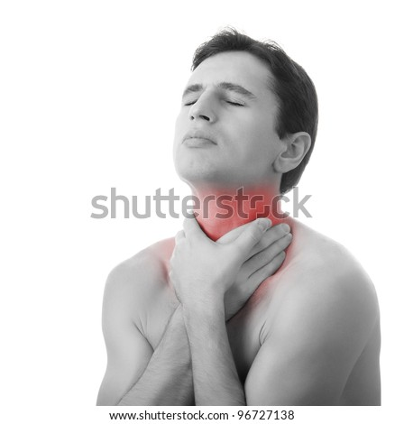 young man holding his throat in pain, isolated on white background, monochrome photo with red as a symbol for the hardening