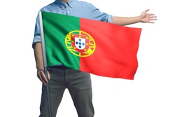 Young man holding Portugal Flag in White Background