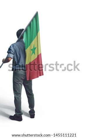 Young man holding Senegal Flag in White Background, Flag of Senegal #1455111221