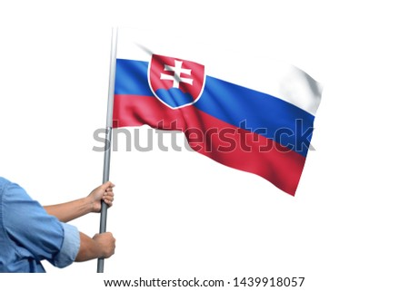 Young man holding Serbia Flag in White Background, Flag of Serbia. #1439918057
