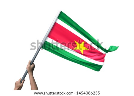Young man holding Suriname Flag in White Background, Flag of Suriname #1454086235