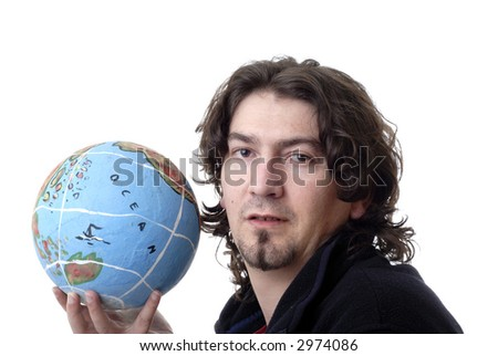 young man holding the world in his hand