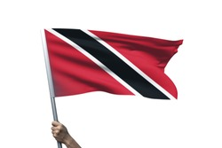 Young man holding Trinidad and Tobago Flag in White Background, Flag of Trinidad and Tobago.