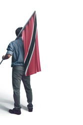 Young man holding Trinidad and Tobago Flag in White Background, Flag of Trinidad and Tobago