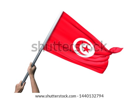 Young man holding Tunisia Flag in White Background, Flag of Tunisia. #1440132794