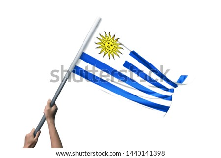 Young man holding Uruguay Flag in White Background, Flag of Uruguay. #1440141398