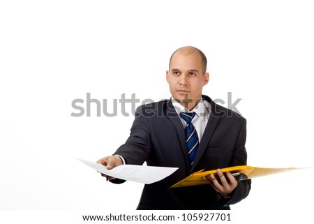 Young man in a business suit with folder and work documents in his hand