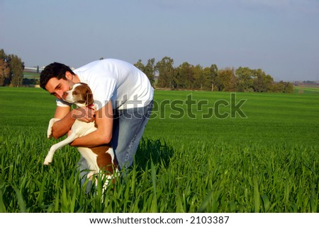 young man in a field
