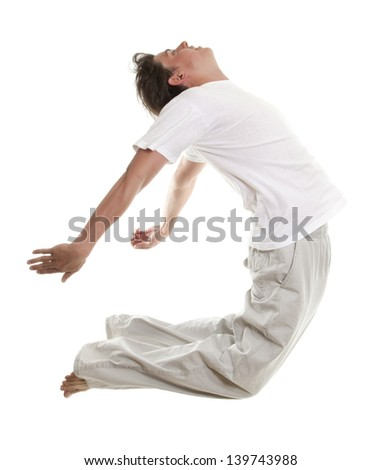 young man in a jump isolated on white background - stock photo