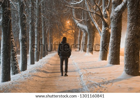 Young man in black clothes alone slowly walking on snow covered sidewalk through alley of trees. Peaceful atmosphere in snowy winter night. Back view.