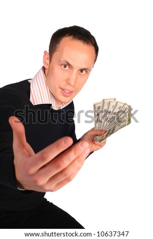 Young man in black with money invites - stock photo