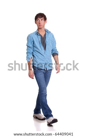 Young man in blue