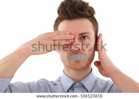 Young man in blue shirt censored with tape