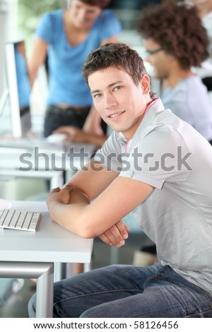 Young man in computing course