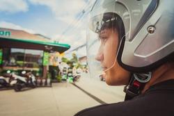 Young man in helmet