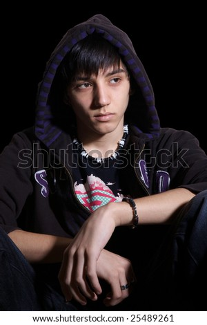 Young man in hooded sweatshirt