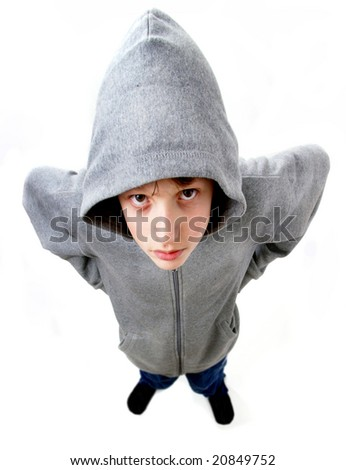 Young man in hooded top