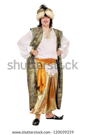 Young man in oriental costume. Isolated on white background