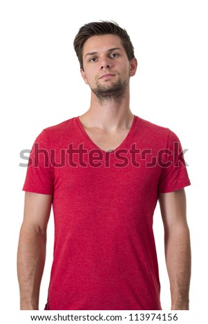 Young man in red t-shirt