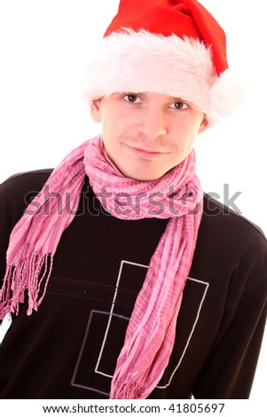 Young man in santa hat over white - stock photo