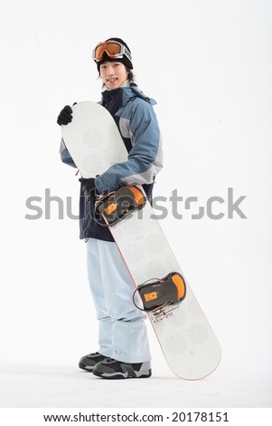 Young Man in Snowboard