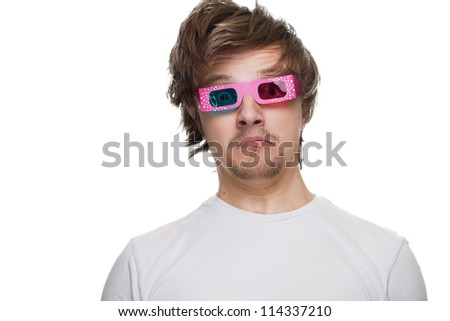 young man in stereo glasses surprised isolated over white - stock photo