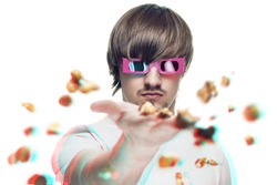 young man in stereo glasses throwing popcorn at the viewer 3d movie concept