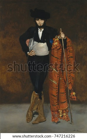 Young Man in the Costume of a Majo, by Edouard Manet, 1863, French impressionist oil painting. Manets younger brother Gustave posed for this work rejected from the Paris Salon of 1863. Majo were urban