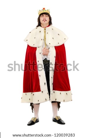 Young man in the royal costume. Isolated on white background