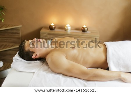 Young man in the spa