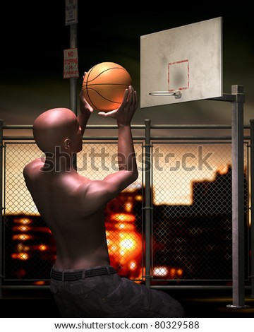 Young Man in urban  basketball court at night. He is making a shot from the foul line. Illuminated by street lights. Cityscape in the background. Original Illustration