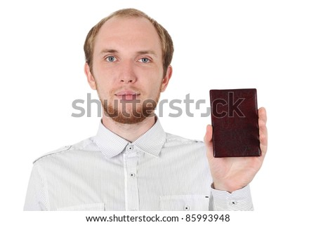 young man in white shirt showing his id document isolated