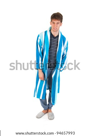 Young man is wearing pajamas gown and slippers