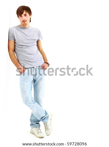 young man isolated on white background - stock photo