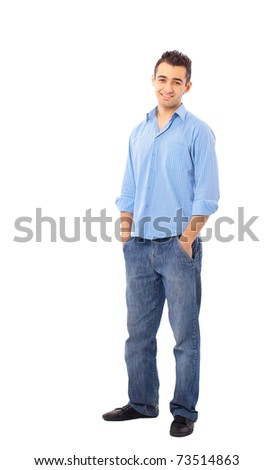 young man isolated over white background