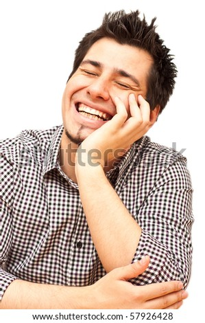 young man laughing with his eyes closed isolated on white