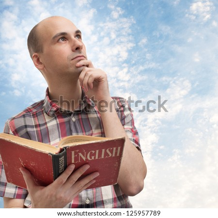 young man learning English
