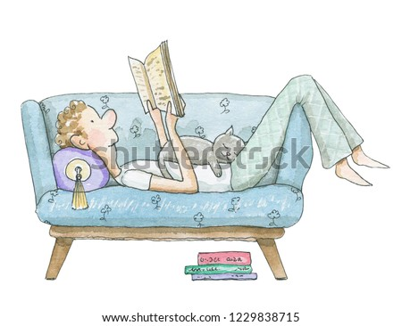 Young man lies on the couch with a cat and reads a book isolated on white background. Watercolor hand drawn illustration