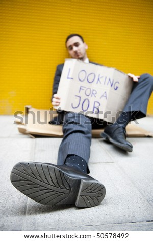 Young man looking for a job