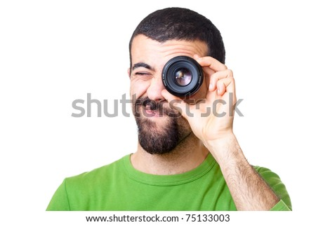 Young Man Looking Through Lens