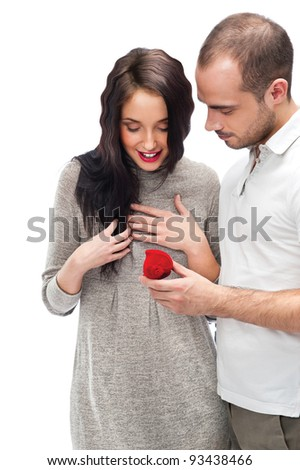 young man making love proposal to a lady of his choice