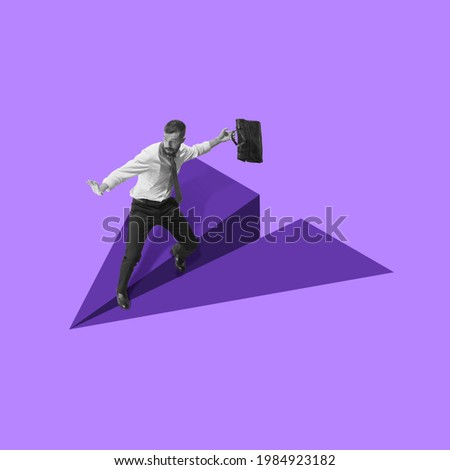 Young man manager, finance analyst or clerk in office suit flying on drawn plane isolated on purple background. Collage, illustration. Concept of finance, economy, professional occupation, business.